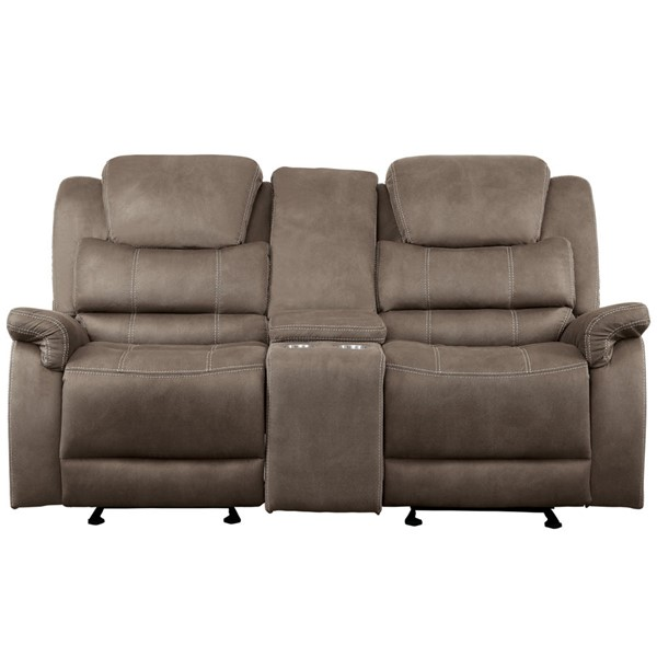 Home Elegance Shola Chocolate Double Glider Reclining Love Seat HE-9848BR-2