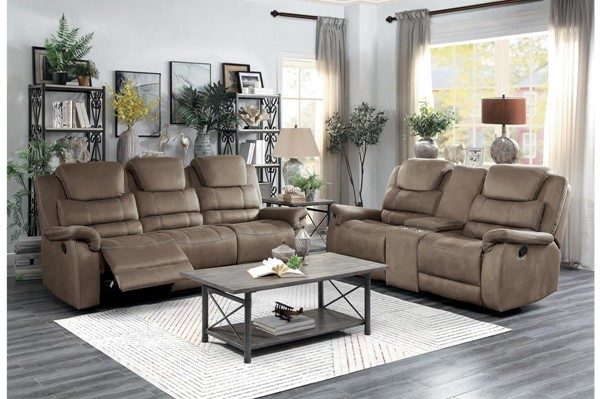Home Elegance Shola Chocolate 2pc Power Living Room Set HE-9848BR-2PWH-SET