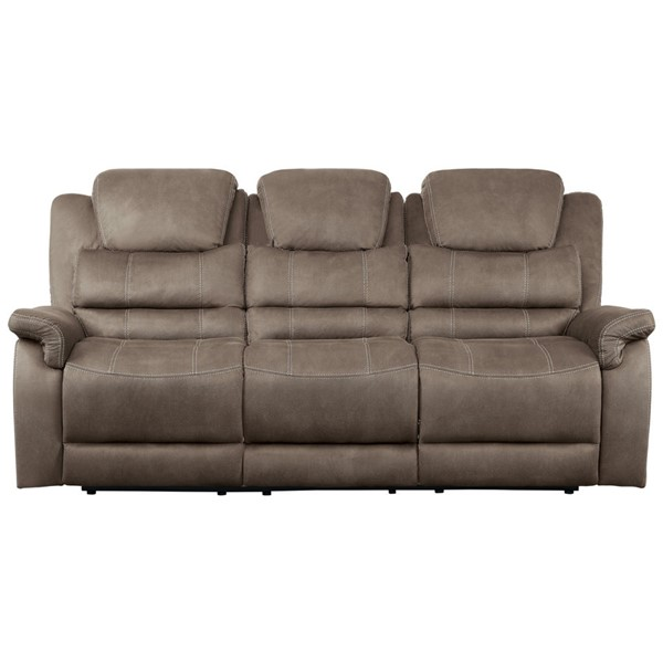 Home Elegance Shola Chocolate Power Double Reclining Sofa HE-9848BR-3PWH