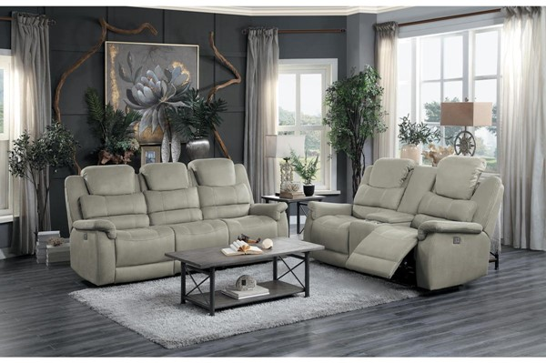 Home Elegance Shola Gray 2pc Power Living Room Set HE-9848GY-2PWH-SET