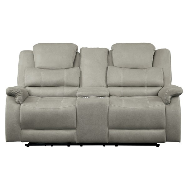 Home Elegance Shola Gray Power Double Reclining Love Seat HE-9848GY-2PWH