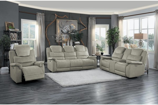 Home Elegance Shola Gray 3pc Power Living Room Set HE-9848GY-3PWH-SET