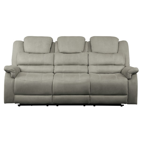 Home Elegance Shola Gray Power Double Reclining Sofa HE-9848GY-3PWH