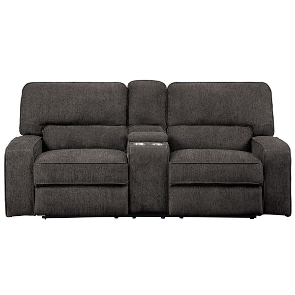 Home Elegance Borneo Chocolate Power Double Reclining Love Seat HE-9849CH-2PWH