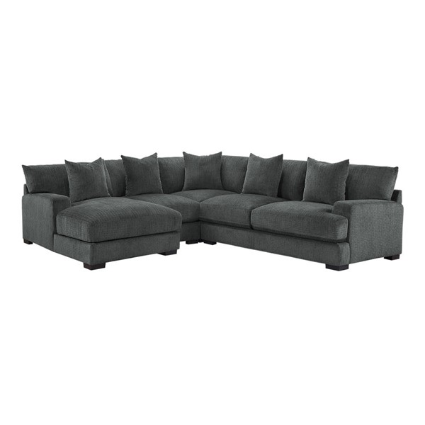 Home Elegance Worchester Gray LAF 4pc Sectional Set HE-9857DG-4LC2R-SEC