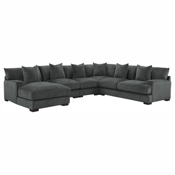 Home Elegance Worchester Gray 5pc Sectional Set HE-9857DG-5LC2R-SEC