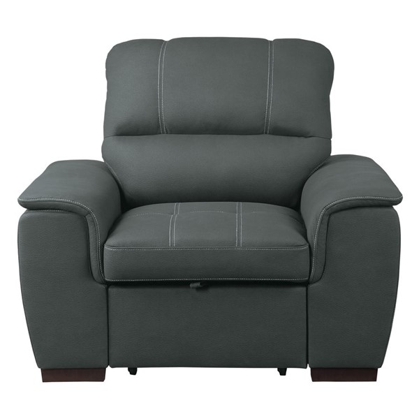 Home Elegance Andes Gray Chair and PullOut Ottoman HE-9858GY-1