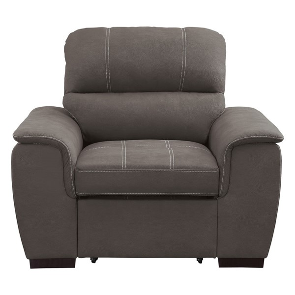Home Elegance Andes Taupe Chair and PullOut Ottoman HE-9858TP-1
