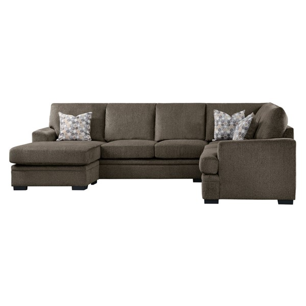 Home Elegance Maddy Brown 2pc Sectional Set HE-9870BR-SC-SET