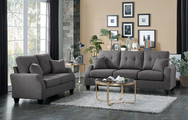 Home Elegance Vossel Gray 2pc Living Room Set HE-9899GY-2-SET