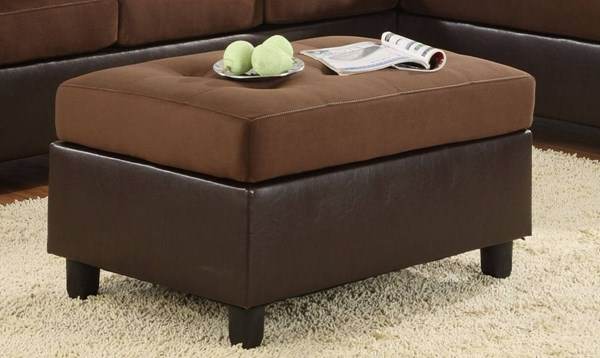 Comfort Living Contemporary Chocolate Vinyl Fabric Ottoman HE-9909CH-4