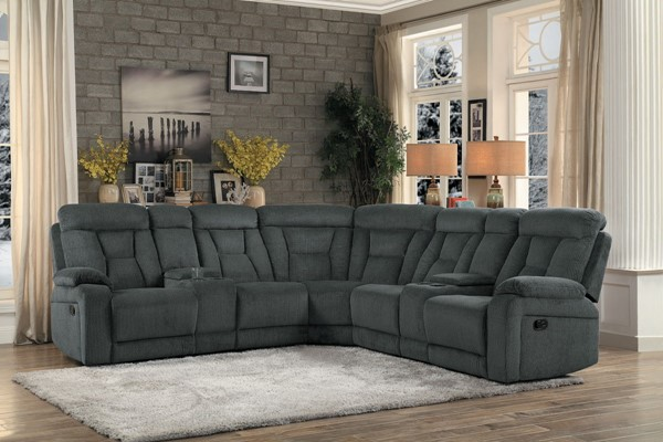 Home Elegance Rosnay Gray 3pc Sectional HE-9914-SC