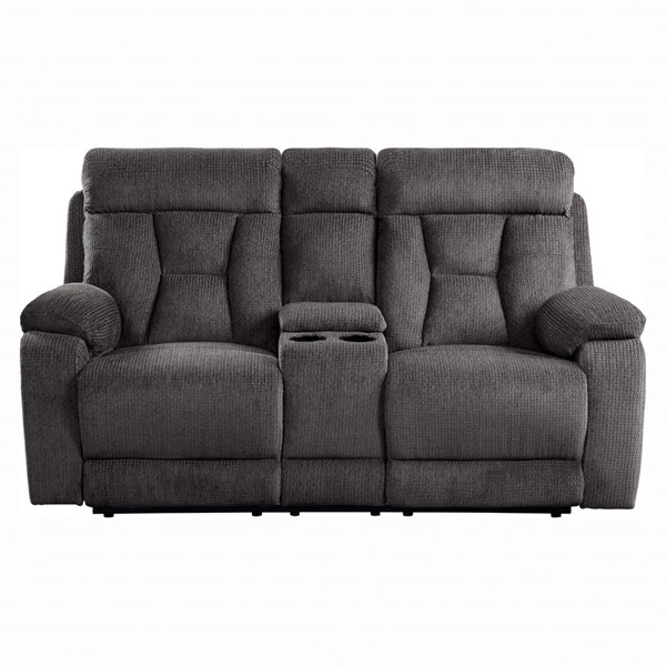 Home Elegance Rosnay Chocolate Double Reclining Console Love Seat HE-9914CH-2