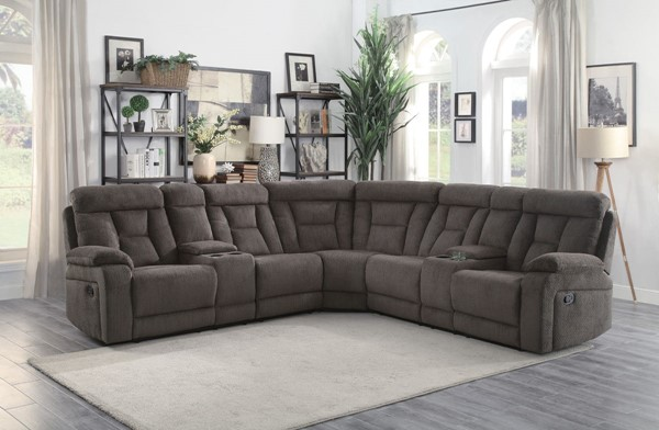 Home Elegance Rosnay Chocolate 3pc Sectional HE-9914CH-SC