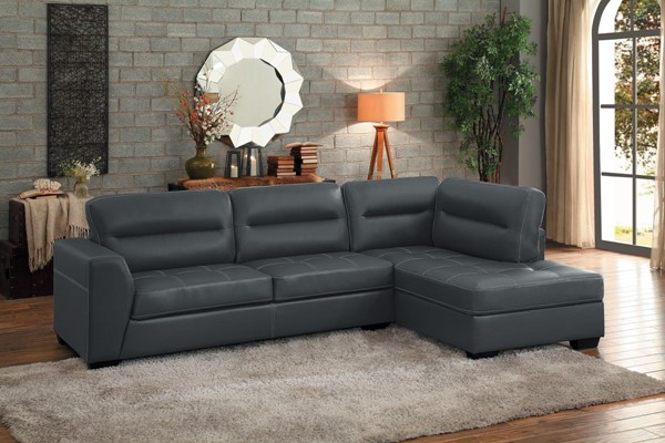 Home Elegance Terza Gray Vinyl 2pc Sectional HE-9924GRY
