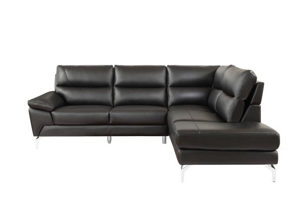 Home Elegance Cairn Black Leather 2pc Sectional HE-9969BK