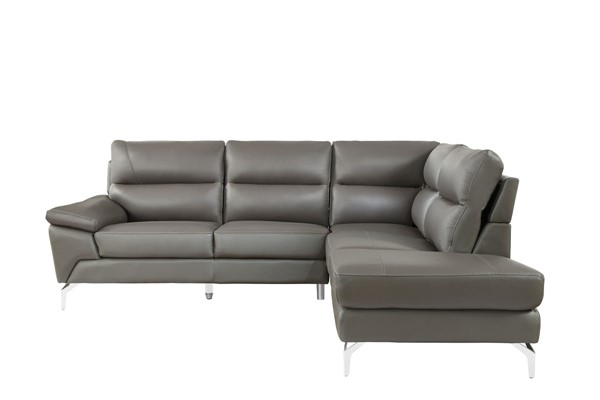 Home Elegance Cairn Gray Leather 2pc Sectional HE-9969GY