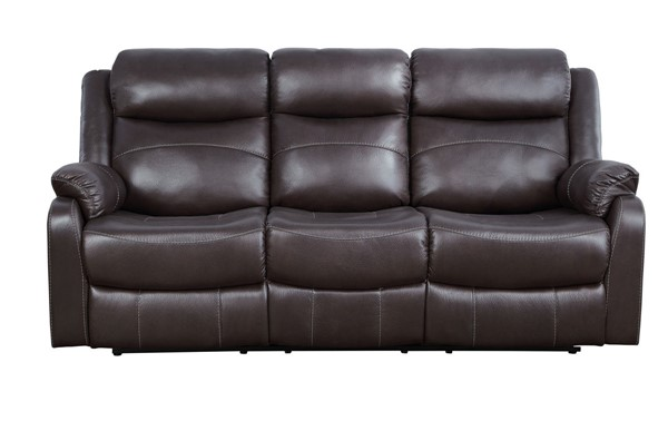 Home Elegance Yerba Dark Brown Fabric Reclining Sofa HE-9990DB-3