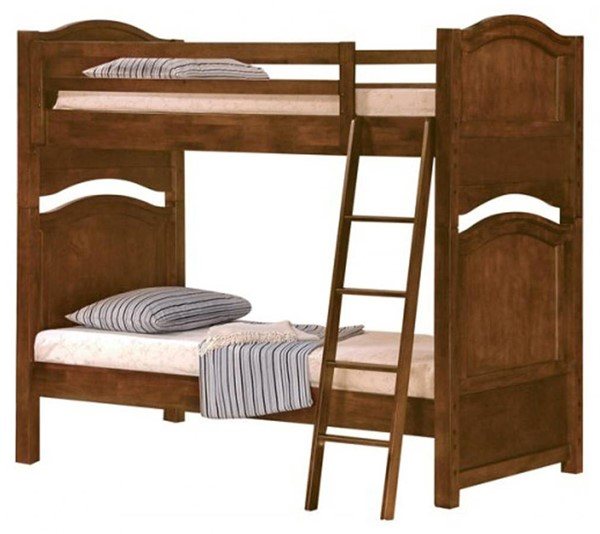 Home Elegance Aris Brown Twin Over Twin Bunked Bed HE-B1422-1