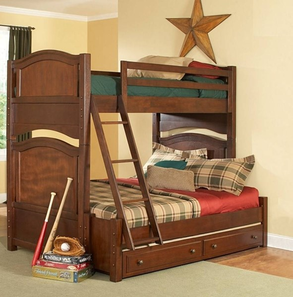 Aris Classic Warm Brown Cherry Wood Twin/Full Trundle Bunk Bed HE-B1422-1F-B1422-R