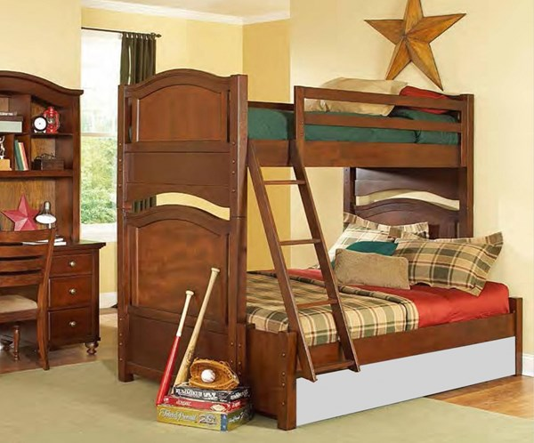 Aris Classic Warm Brown Cherry Wood Twin/Full Bunked Bed HE-B1422-1F