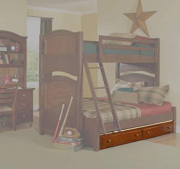 Aris Classic Warm Brown Cherry Wood Twin Trundle Underneath Bunk Bed HE-B1422-R