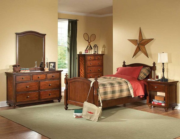 Aria Classic Warm Brown Cherry Wood Kids Bedroom Sets HE-1422-Youth