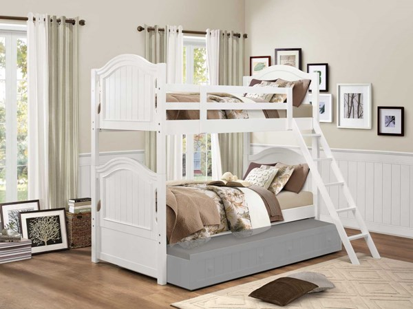 Home Elegance Clementine White Twin Over Twin Bunk Bed HE-B1799-1