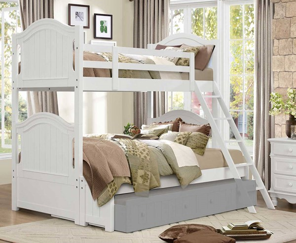 Home Elegance Clementine White Twin Over FULL Bunk Bed HE-B1799-1F