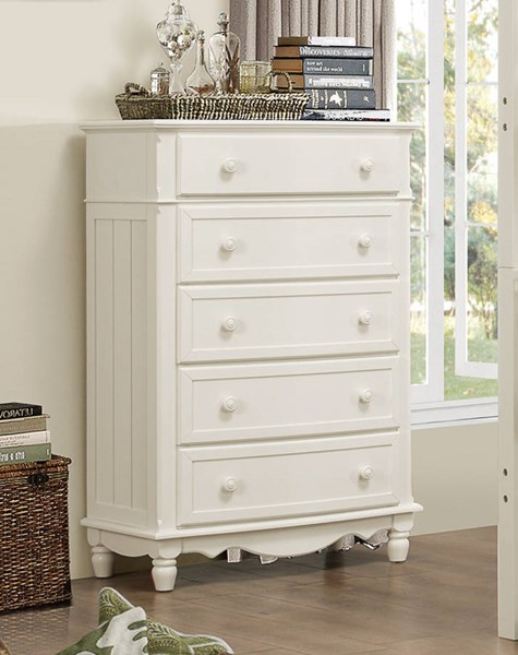 Clementine Classic White Wood Round Knobs Drawer Chest HE-B1799-9