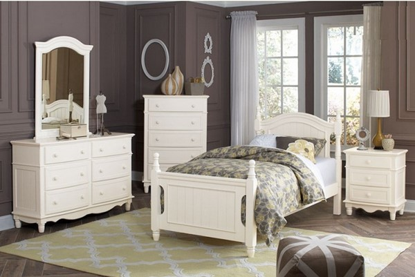 Clementine Classic White Wood 4pc Kids Bedroom Set w/Twin Bed HE-B1799-KBR-S1