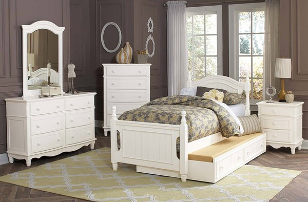 Clementine Classic White Wood 4pc Kids Bedroom Sets HE-B1799-KBR-S
