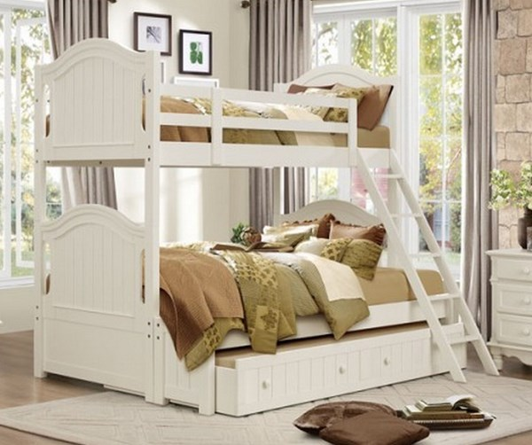 Clementine Classic White Wood Twin/Full Trundle Bunk Bed HE-B1799-TF-TRNDL