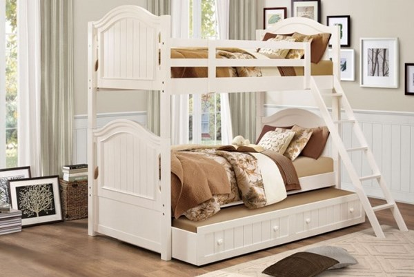 Clementine Classic White Wood Twin/Twin Trundle Bunk Bed HE-B1799-TT-TRNDL