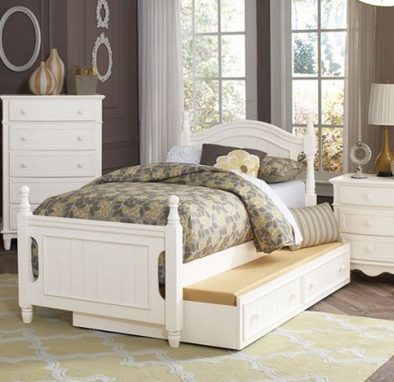 Clementine Classic White Wood Full Platform Bed w/Trundle HE-B1799F-1-TRNDL