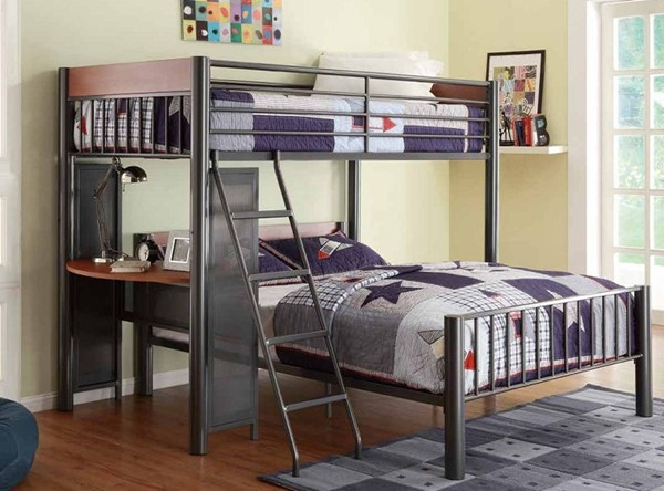 Division Graphite Metal Twin/Full Loft Bed HE-B2008TF-1