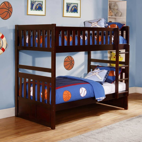 Rowe Transitional Dark Cherry Wood Bunk Beds HE-B2013-BB