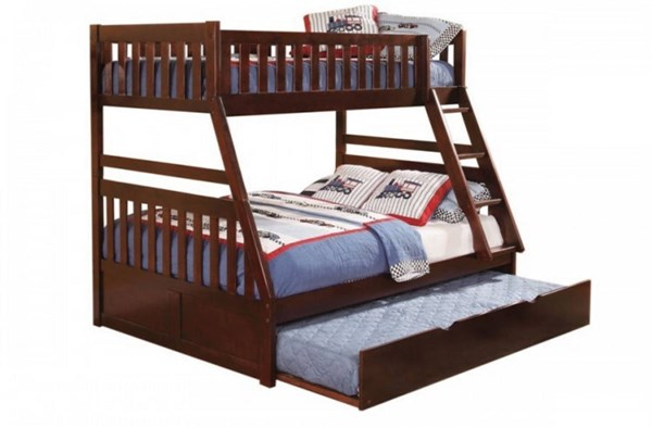 Rowe Dark Cherry Wood Twin/Full Bunk Bed w/Trundle Unit HE-B2013FDC-1R-S