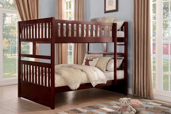 Rowe Dark Cherry Wood Full Over Full Bunk Bed With Trundle HE-B2013FFDC-1-B2013DC-R