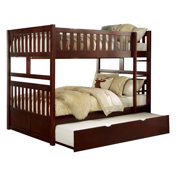 Home Elegance Rowe Dark Cherry Trundle Bunk Beds HE-B2013-1-R-VAR