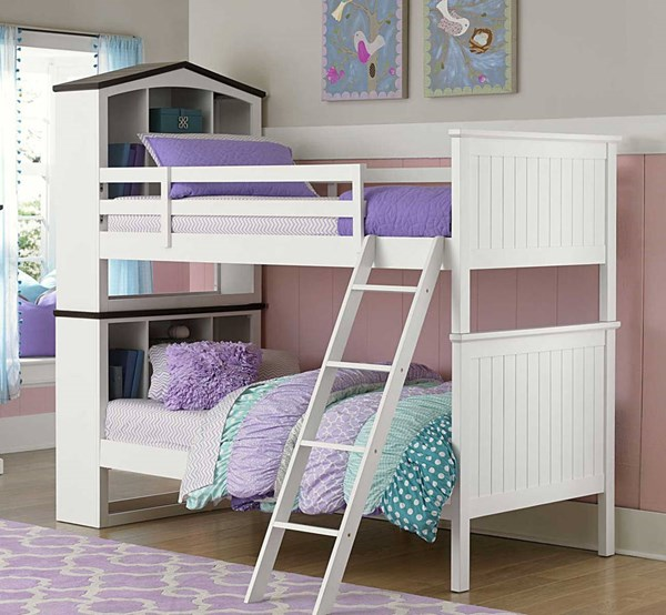 Lark Traditional White Wood Twin/Twin Bookcase Bunk Bed HE-B2018-1