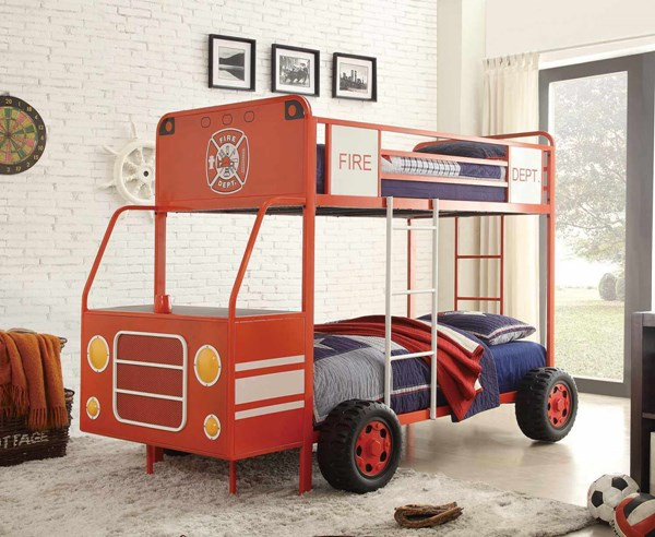 Engine One Contemporary Red Metal Twin/Twin Bunk Bed HE-B2023-1