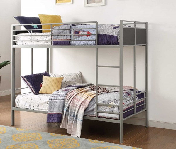 Dex Contemporary Grey Metal Twin/Twin Bunk Bed HE-B2033-1