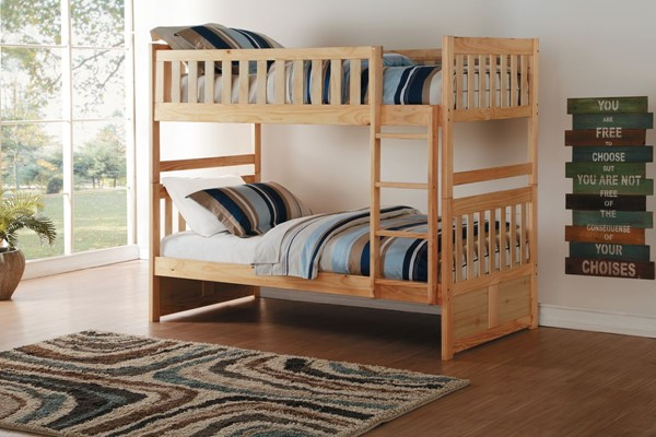 Home Elegance Bartly Natural Twin Over Twin Bunk Bed HE-B2043-1