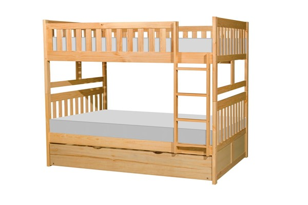 Home Elegance Bartly Natural Pine Full Over Full Trundle Bunk Bed HE-B2043FF-1-R