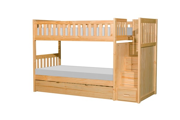 Home Elegance Bartly Natural Pine Reversible Step Storage And Twin Trundle Bunk Bed HE-B2043SB-1-R
