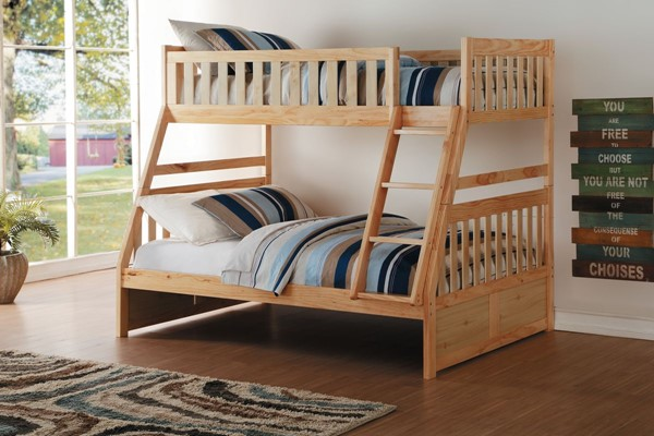 Home Elegance Bartly Natural Twin Over Full Bunk Bed HE-B2043TF-1