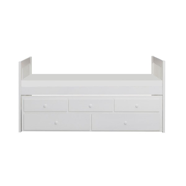 Home Elegance Galen White Twin Over Twin Trundle Bed HE-B2053PRW-1