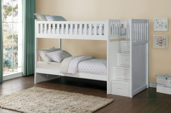 Home Elegance Galen White 2pc Kids Bedroom Set With Bunk Bed HE-B2053SBW-KBR-S4