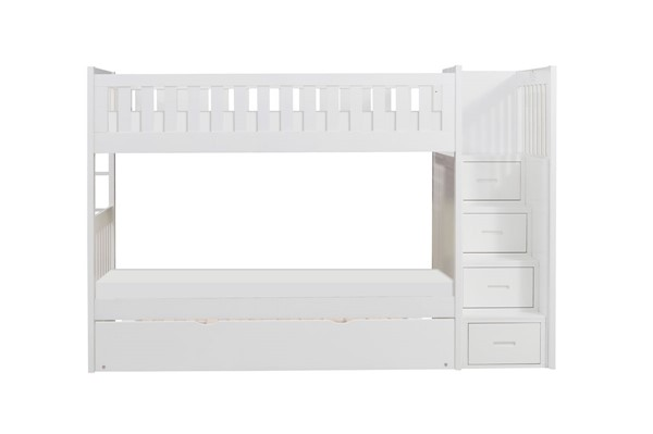Home Elegance Galen White Reversible Step Storage And Twin Trundle Bunk Bed HE-B2053SBW-1-R